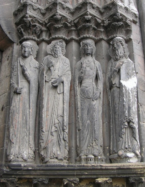 Angers Cathedral sculpture at west door TTaylor.JPG